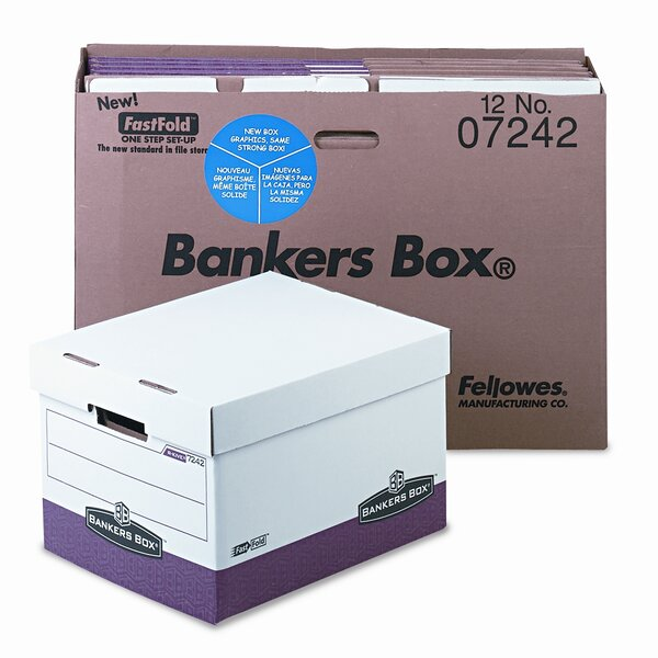Bankers Box R-KIVE Max Storage Box Letter//Legal Locking Lid White//Blue 12//Carton