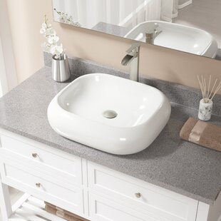 Purchase Pillow Top Vitreous China Rectangular Vessel Bathroom Sink with Faucet ByMR Direct
