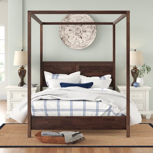 Behling Four Poster Bed Three Posts Colour: Brown, Size: