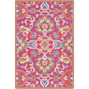 Withams Floral Hand Tufted Wool Bright Pink/Coral Area Rug