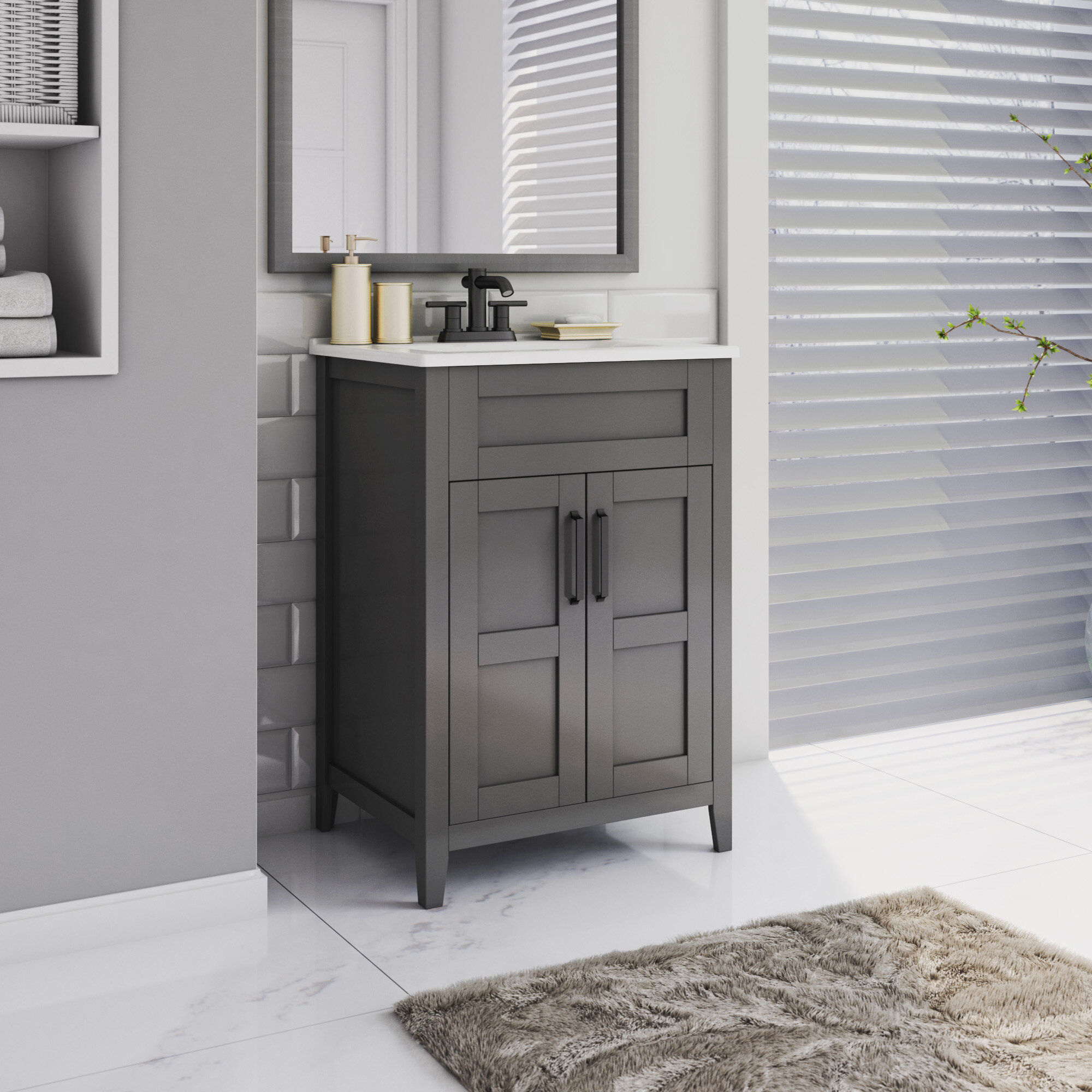 Winston Porter Abubakkar Freestanding 24 Single Bathroom Vanity Set Reviews Wayfair