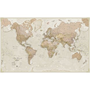 World map wallpaper wayfair world antique 120 laminated map wall mural gumiabroncs Gallery