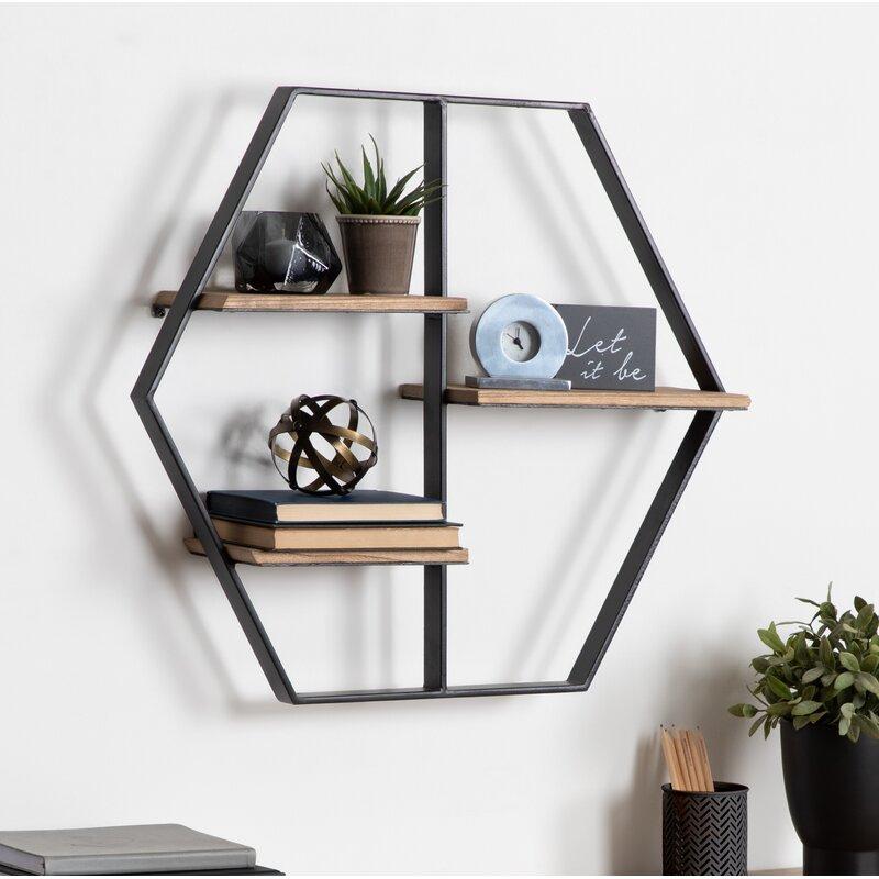 Flitwick Hexagon Wood Wall Shelf