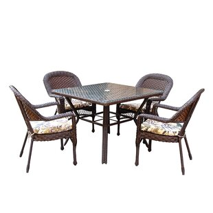 Bay Isle Home Belwood Resin Wicker 5 Piece Dining Set with Floral Cushions