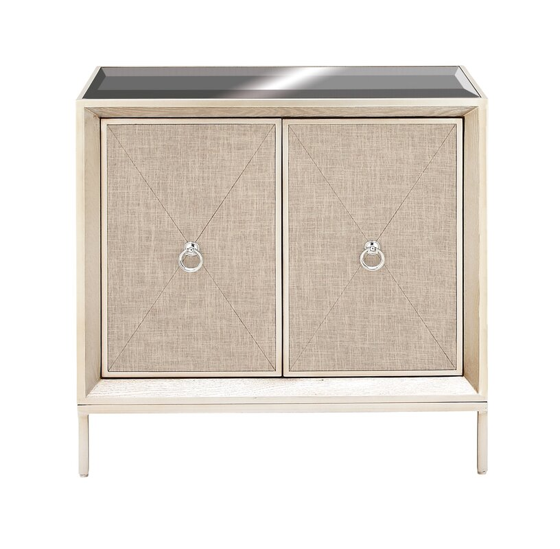 Cole & Grey 2 Door Wood and Metal Mirror Accent Cabinet & Reviews ...
