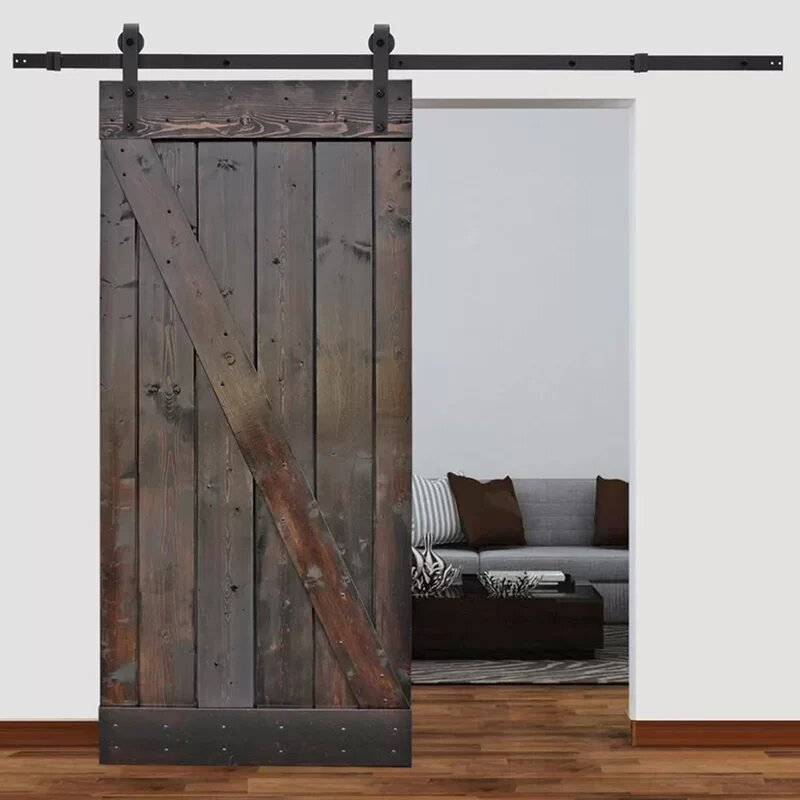 Solid Wood Paneled Pine Slab Interior Barn Door