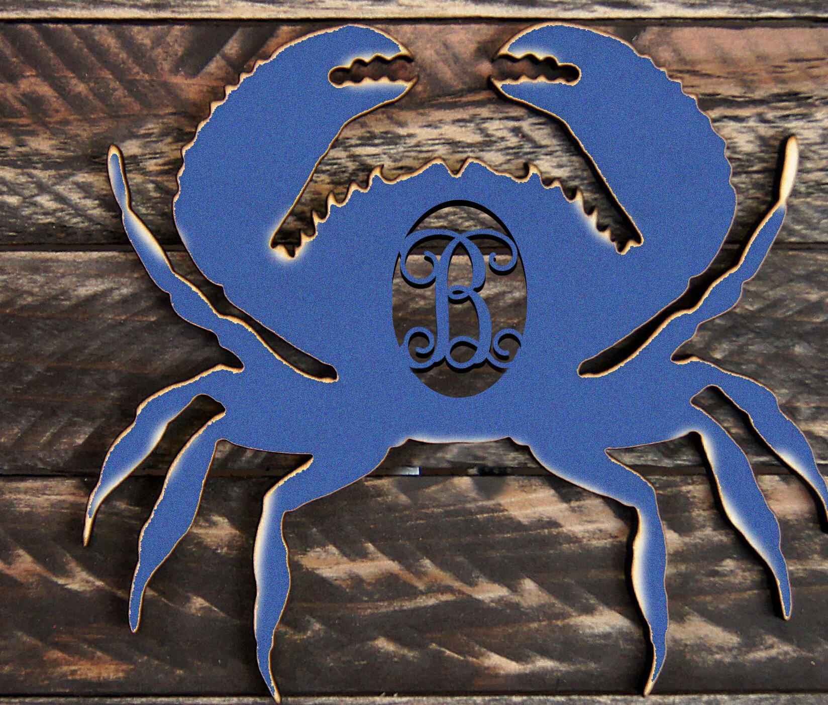 Amonogramartunlimited Tropical Crab Rustic Single Letter Wooden Shape Wall Décor Wayfair