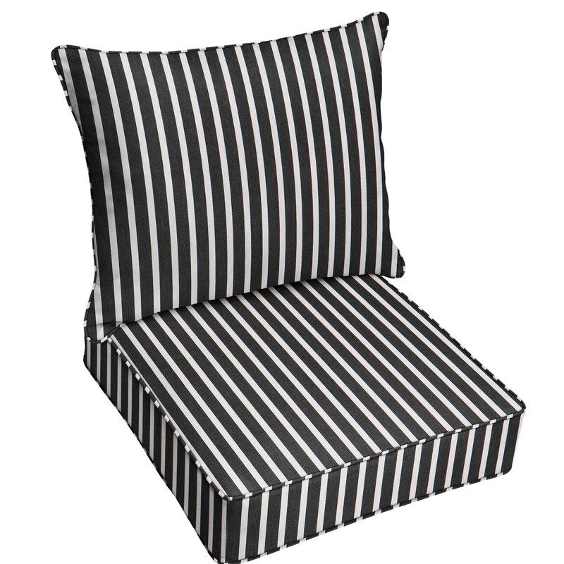 Mozaic Company 2 Piece Deep Seating Striped Indoor Outdoor Sunbrella Dining Chair Cushion Set Wayfair
