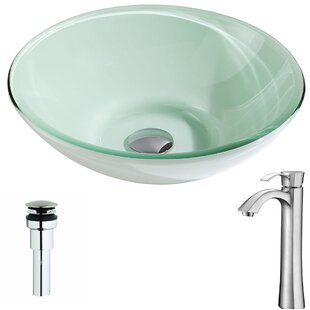 Sonata Glass Circular Vessel Bathroom Sink with Faucet ANZZI