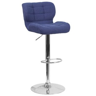 Aurigae Adjustable Height Swivel Bar Stool Ivy Bronx