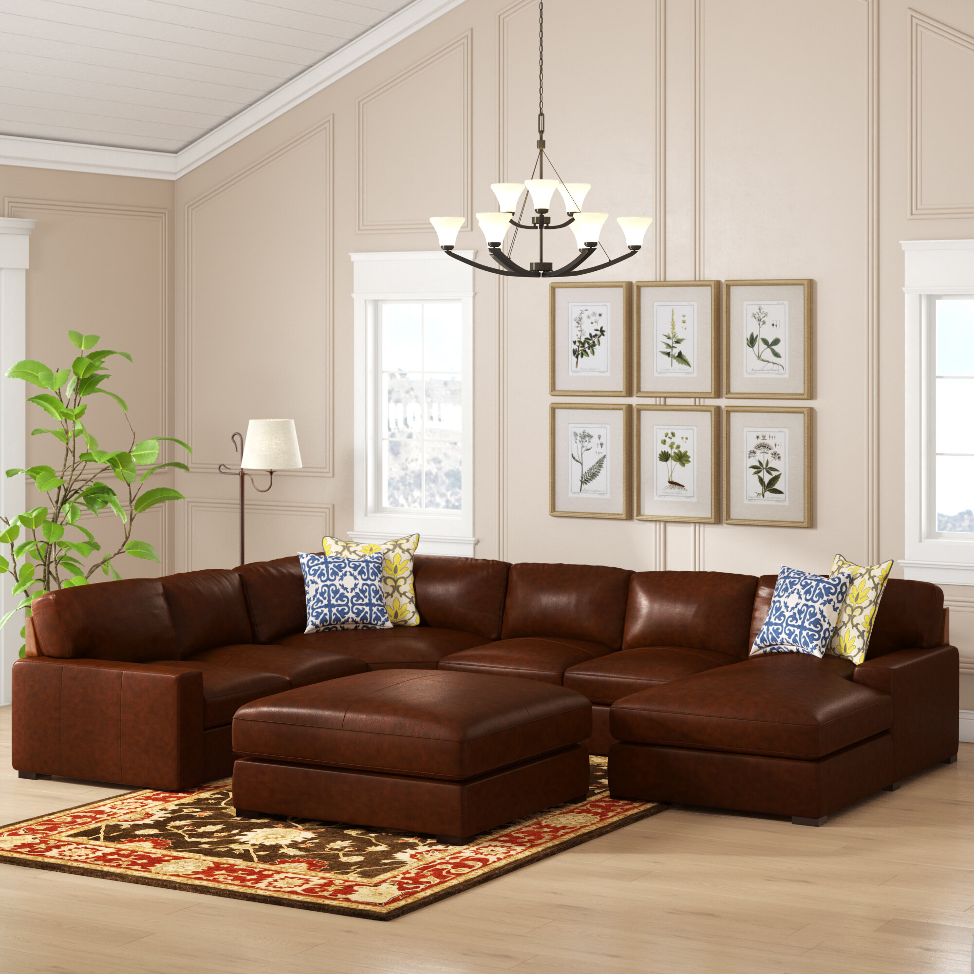 Darby Home Co Gartner 139 5 Genuine Leather Right Hand Facing Modular Large Sectional With Ottoman Reviews Wayfair