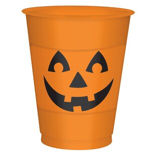 Halloween Pumpkin Plastic Disposable Everyday Cup (Set of 25)