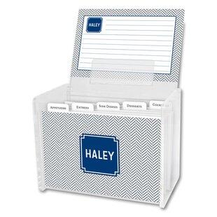 Bargain Herringbone Block Personalized Recipe Box ByBoatman Geller
