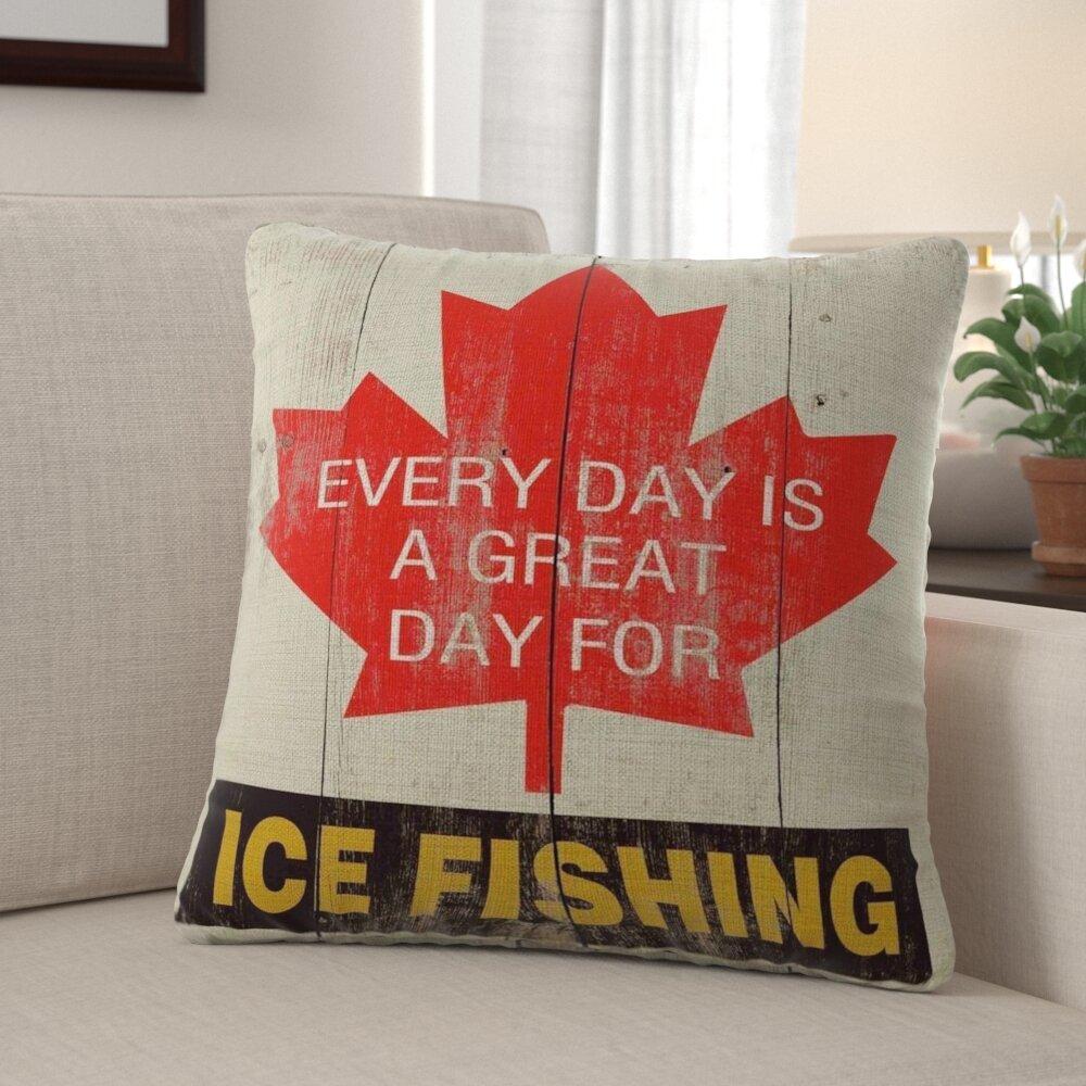 Millwood Pines Gamino Great Day Ice Fishing Linen Throw Pillow Wayfair