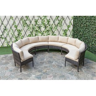 Courtney 6 Piece Rattan Sectional Seating Group with Cushions