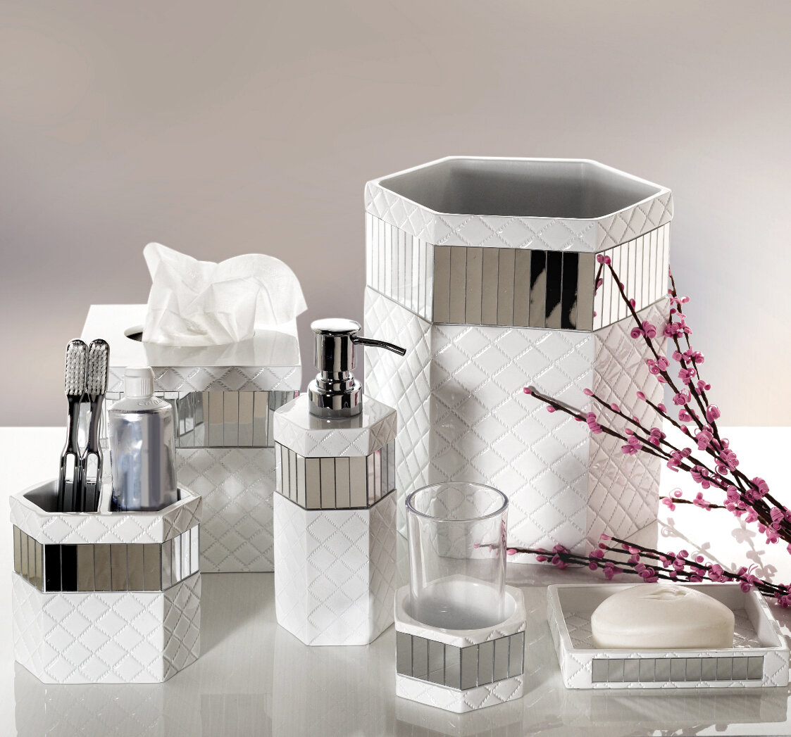 Creative Scents Quilted Mirror 6-Piece Bathroom Accessory Set ...
