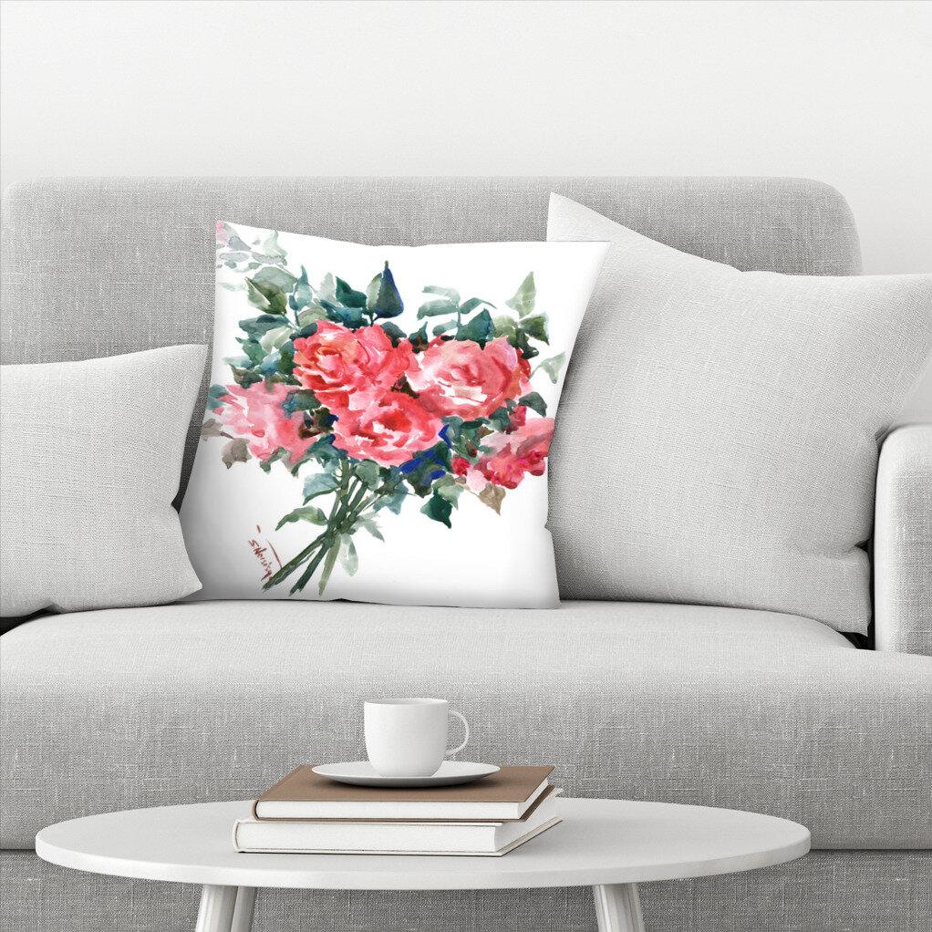 East Urban Home Suren Nersisyan Roses Floral Throw Pillow Cover Wayfair