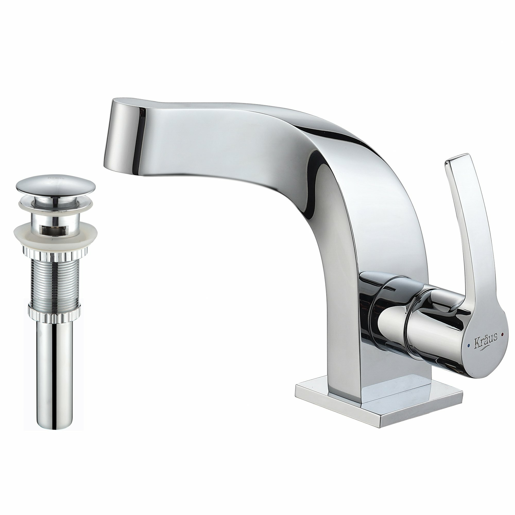 Kraus Typhon Single Hole Bathroom Faucet with Pop Up Drain & Reviews ...