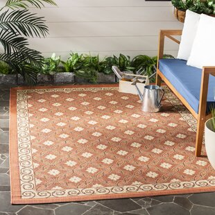 Short Terracotta/Cream Indoor/Outdoor Rug
