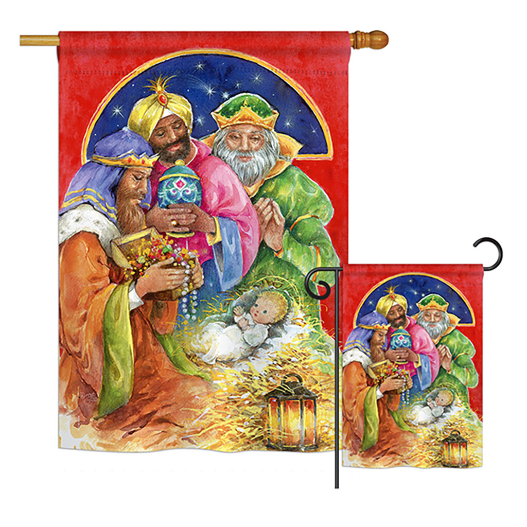Breeze Decor Three Kings Gifts Winter Nativity Impressions 2 Sided Polyester 2 Piece Flag Set Wayfair