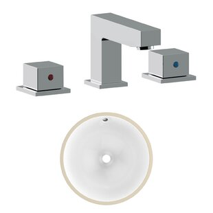 American Imaginations CSA Ceramic Circular Undermount Bathroom Sink with Faucet and Overflow