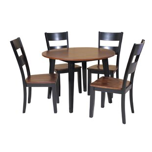 Dinh 5 Piece Drop Leaf Solid Wood Dining Set Latitude Run