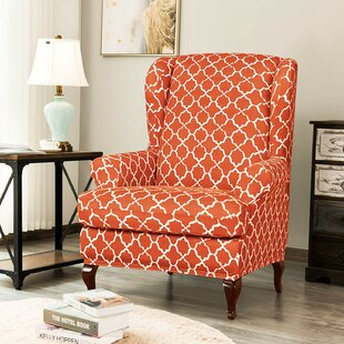 Cloud Print Spandex Box Cushion Wingback Slipcover By Charlton Home