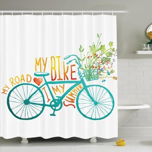 Summer Bike with Flowers Shower Curtain Set