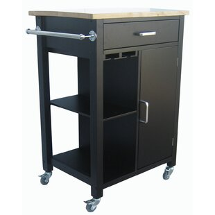 Carlie Kitchen Cart with Solid Wood Top