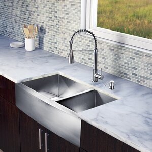 VIGO 36 inch Farmhouse Apron 60/40 Double Bowl 16 Gauge Stainless Steel Kitchen Sink with Brant Stainless Steel Faucet, Tw...