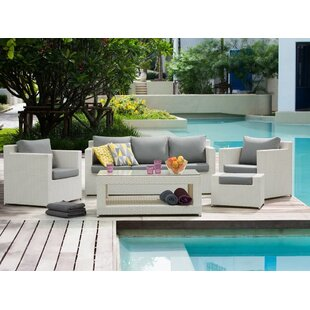 Pennsylvania 5 Piece Rattan Sofa Seating Group with Cushions