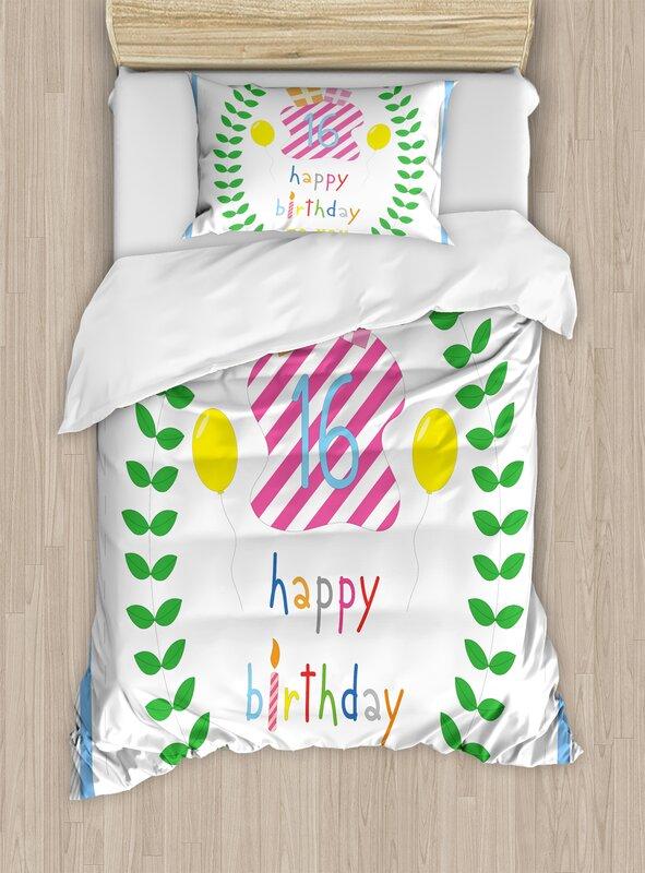 16th Birthday Decorations Duvet Set