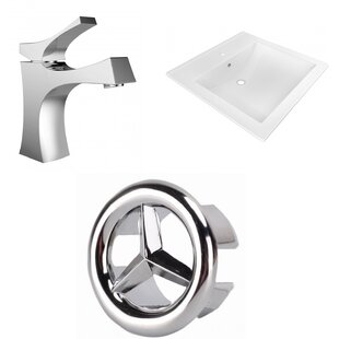 American Imaginations Ceramic Rectangular Drop-In Bathroom Sink with Faucet
