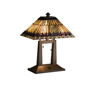 Jeweled Peacock Oblong 20 Table Lamp