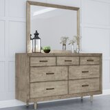 Cloninger 7 Drawer Double Dresser with Mirror by Loon Peak®