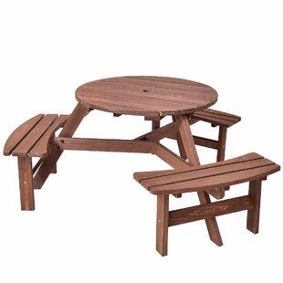 Highland Dunes Zinnia Patio Wood Picnic Table