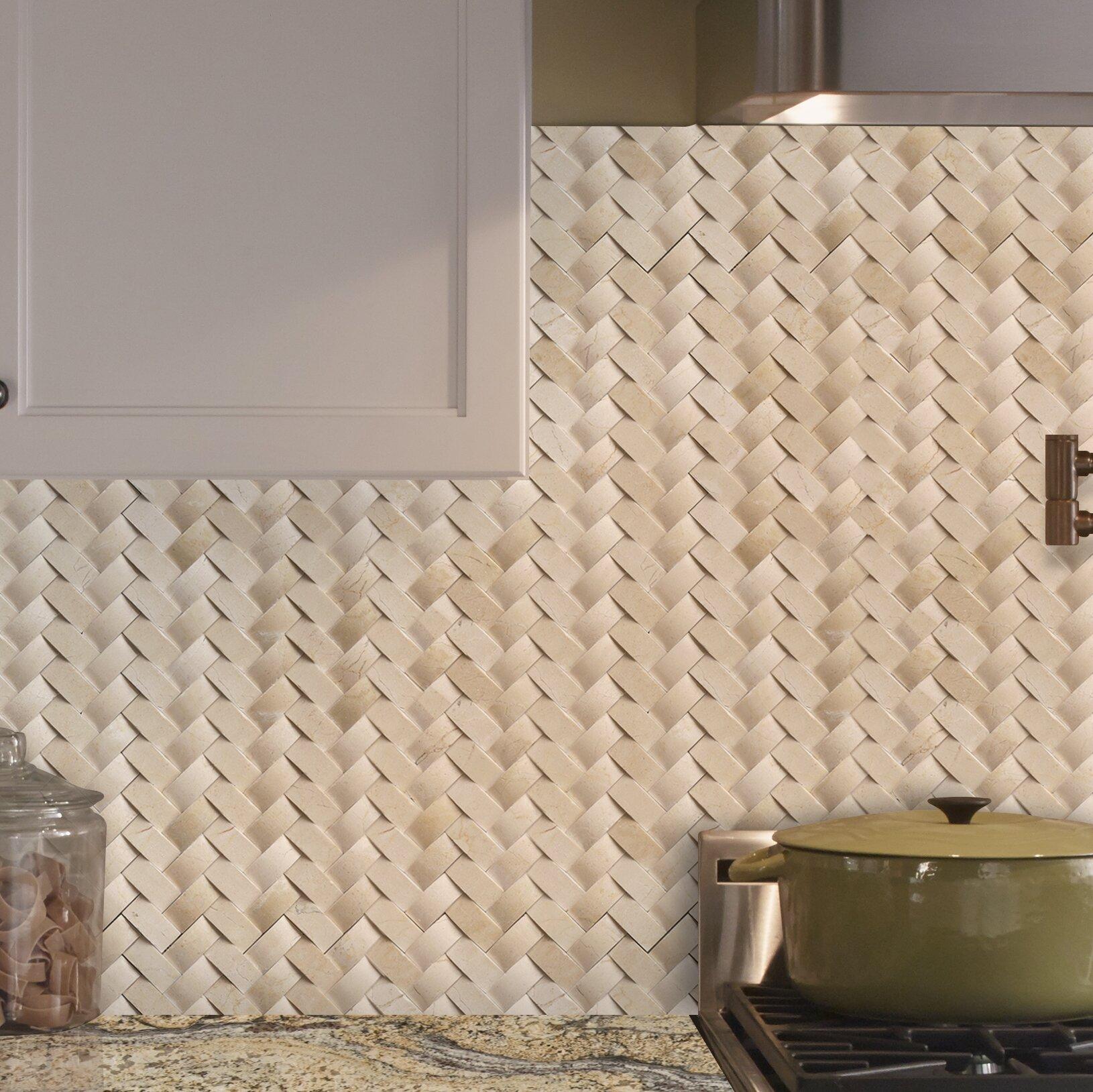 Herringbone Chevron Marble Backsplash Tile You Ll Love In 2020
