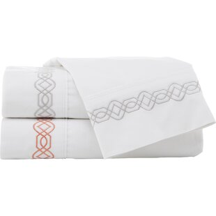 Sabina Trellis Embroidered 200 Thread Count 100% Cotton Sheet Set