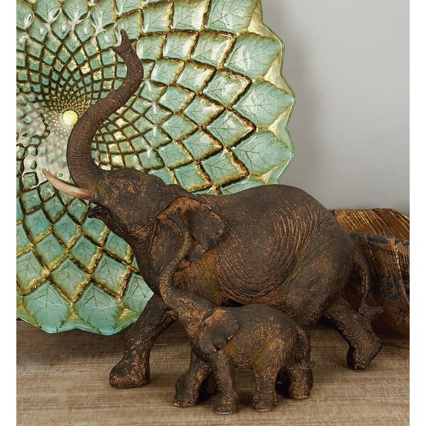 World Menagerie Bertaux Trumpeting Mother And Baby African Elephant Figurine Reviews Wayfair