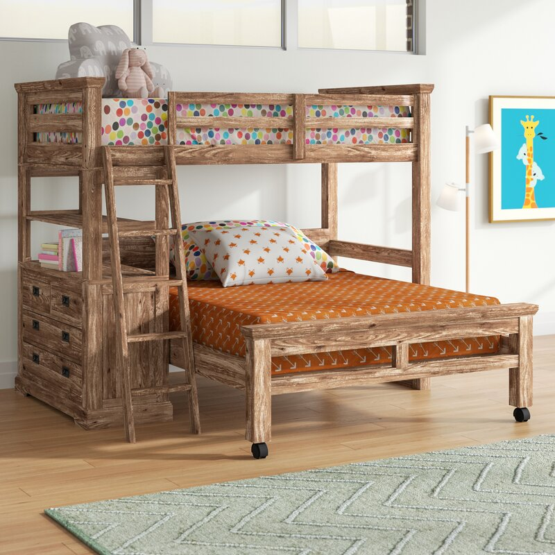 Elise Twin Over Full L Shaped Bunk Bed With 4 Drawer Chest And Lower Bed
