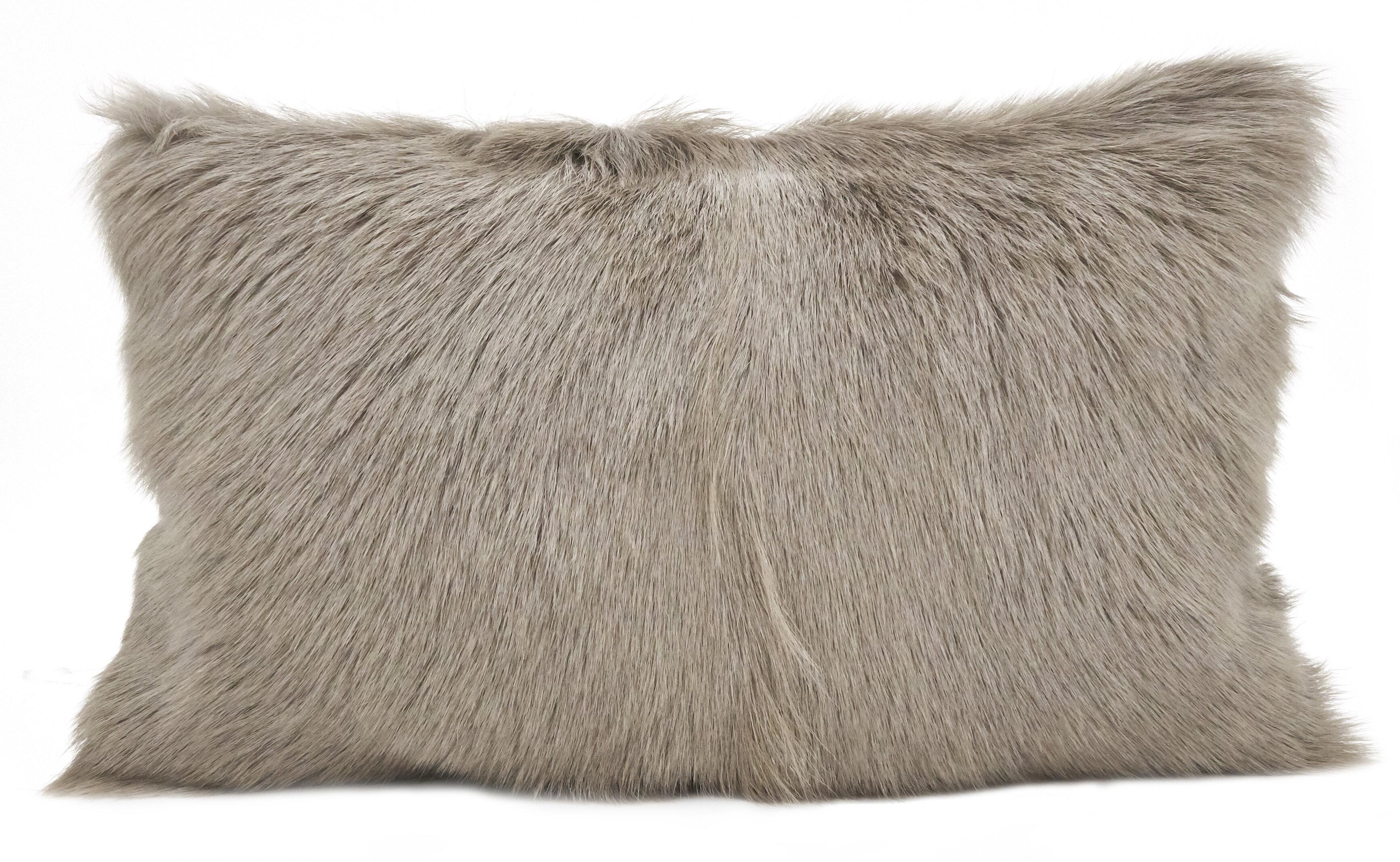 Union Rustic Oquinn Goat Fur Lumbar Pillow Reviews Wayfair