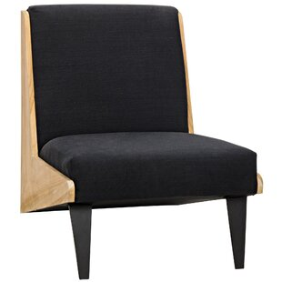 Noir Mathew Teak with Hand-Woven Fabric Slipper Chair