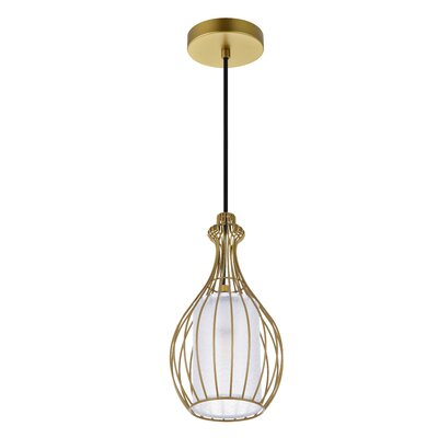 1 Light Arushi 1 Light Black Pendant Wrought Studio Finish Brass