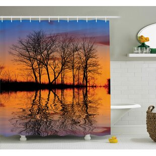 Look for Nature Sunset by Lake View Shower Curtain By East Urban Home