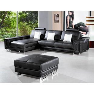Hokku Designs Martini Sectional with Ottoman