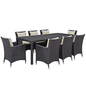 Ryele 9 Piece Outdoor Patio Dining Set With Cushions