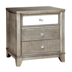 rogers 3 drawer wood nightstand