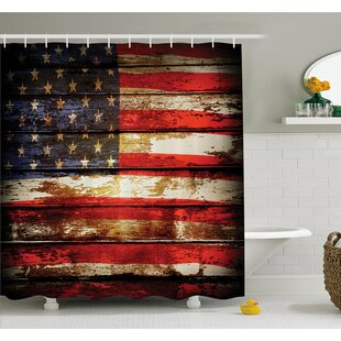 Us Symbolism over Old Rusty Tones Weathered Vintage Social Plank Artwork Shower Curtain Set by East Urban Home