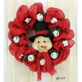 christmas snowman burlap 22 wreath - Christmas Burlap Wreath