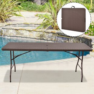 Lederer Portable Folding Rattan Dining Table